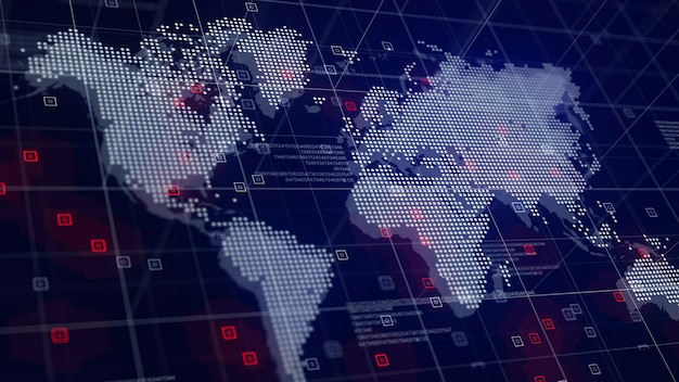 Mapa mundial digital holograma fundo azul Foto gratuita