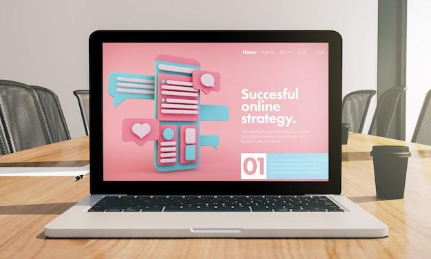 Maquete de laptop de estratégia online na renderização 3d da sala de conferências Foto Premium