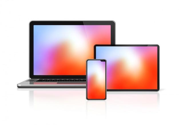Maquete de laptop, tablet e aparelho telefônico isolado no branco. Foto Premium