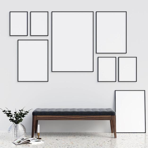 Maquete de quadros com decorações minimalistas Foto Premium