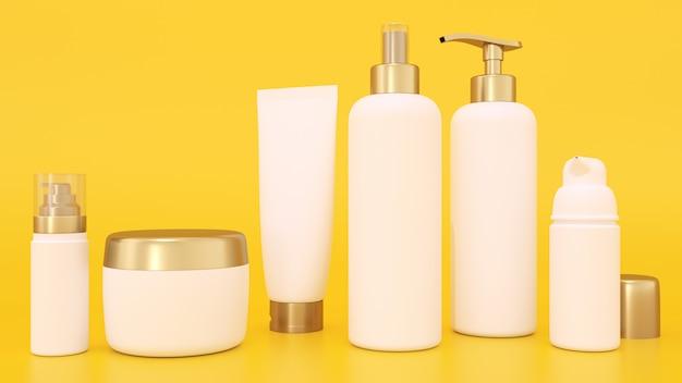 Maquete de renderização 3d para embalagens de cosméticos Foto Premium