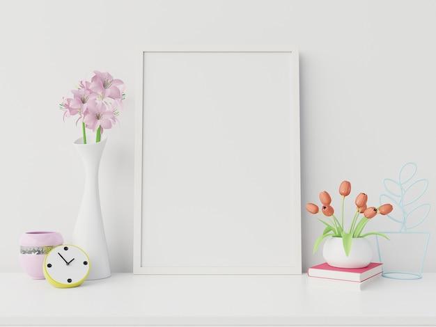 Maquete do cartaz com moldura vertical e direita / esquerda tem livro, flor fundo de parede branca, renderização em 3d Foto Premium