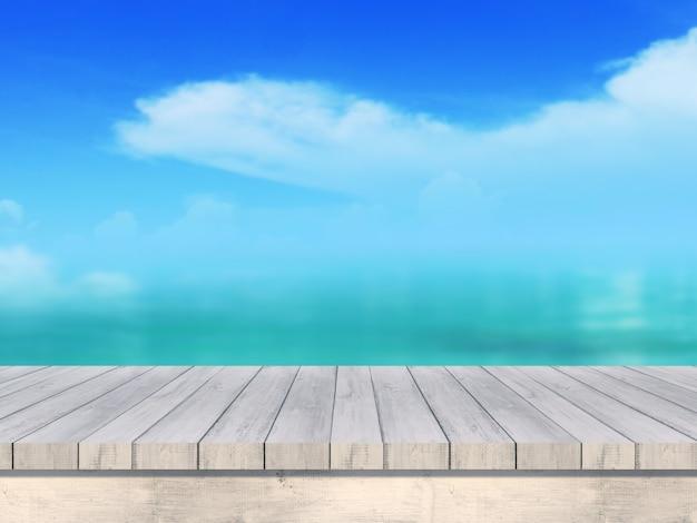 Maquete do verão turva 3d rendem mesa de madeira, olhando para fora da paisagem do mar Foto Premium