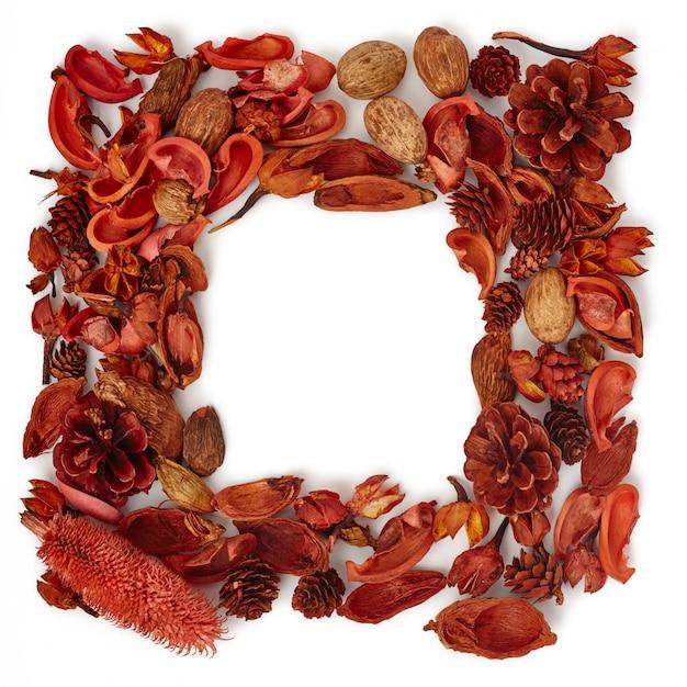 Maquete moldura decorativa de uma floresta de flores secas e pinhas Foto Premium