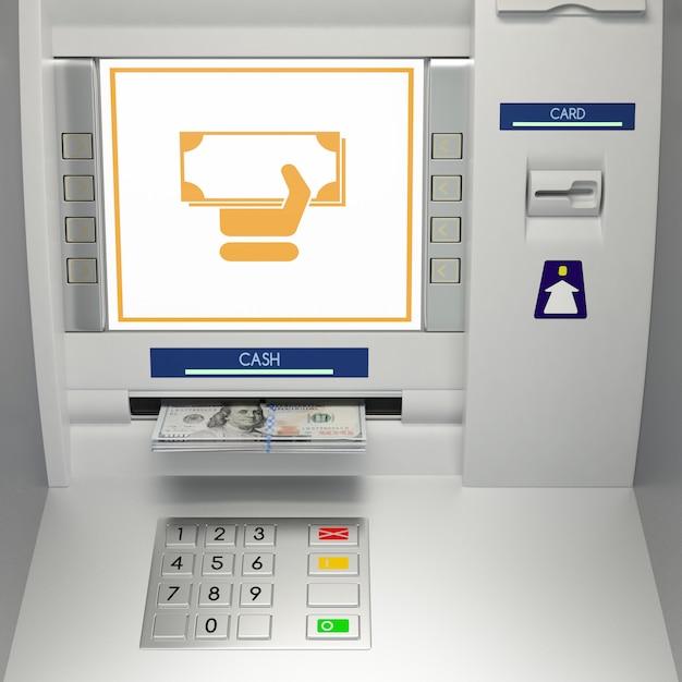 Máquina atm com notas no slot de dinheiro Foto Premium