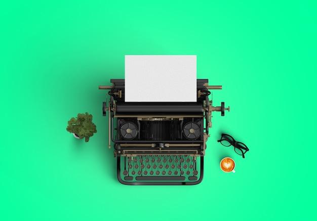 Máquina de escrever sobre fundo verde Foto gratuita