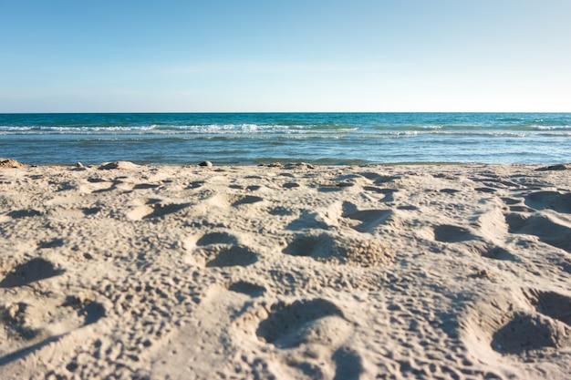 Mar com céu azul e natureza da areia da praia. Foto Premium