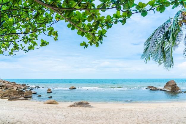 Mar praia tropical ao ar livre bonito em torno da ilha samui com coqueiro e outros Foto gratuita