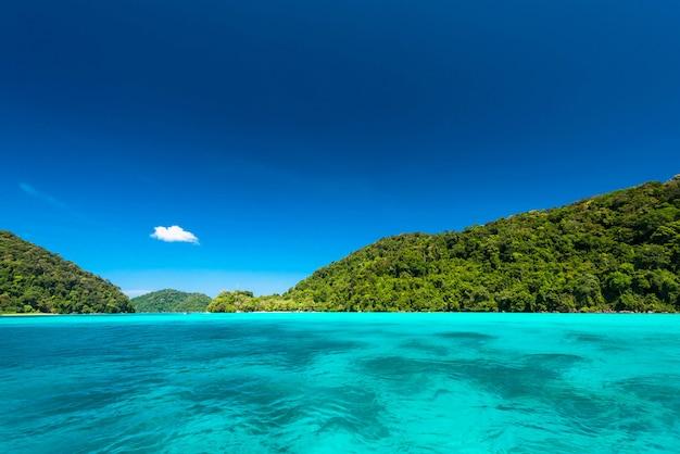 Mar tropical limpo e brilhante com céu azul na ilha de surin, tailândia Foto Premium