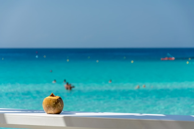 Maravilhosa vista para o mar de um café com coco. Foto Premium