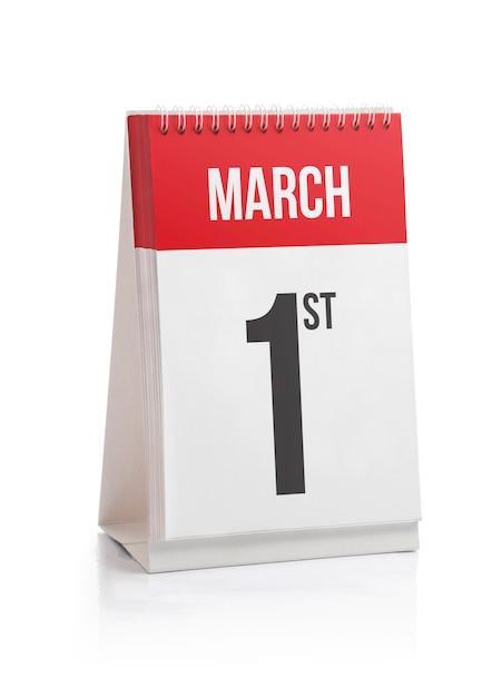 Março mês dias calendário primeiro dia Foto Premium