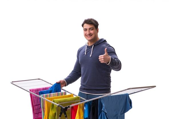 Marido homem lavando roupa isolado Foto Premium