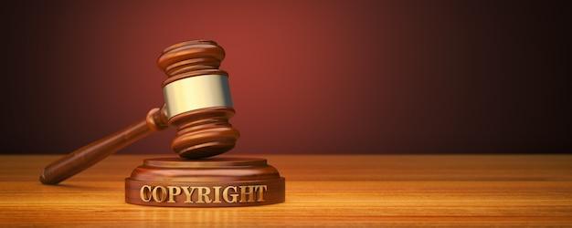 Martelo com palavra copyright no bloco de som Foto Premium