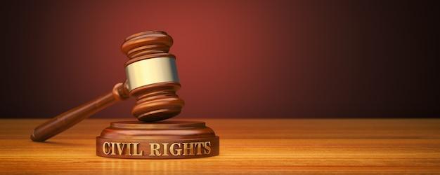 Martelo com palavras direitos civis no bloco de som Foto Premium