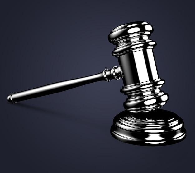 Martelo de juiz em azul com traçado de recorte Foto Premium