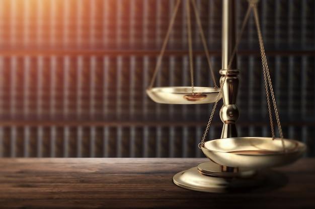 Martelo do juiz no fundo de madeira, vista superior Foto Premium