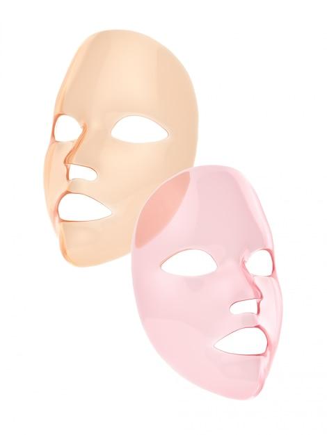 Máscara de folha-de-rosa e laranja 3d render Foto Premium