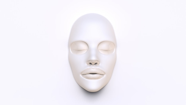 Máscara de lençol branco sobre fundo branco 3d render Foto Premium