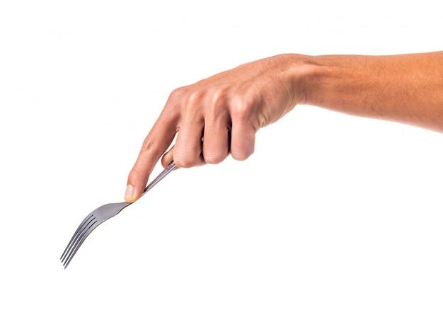 Masculino mão segurando um garfo isolado Foto Premium