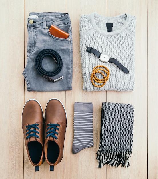 Masculinos acessórios cinto camisola roupas Foto gratuita