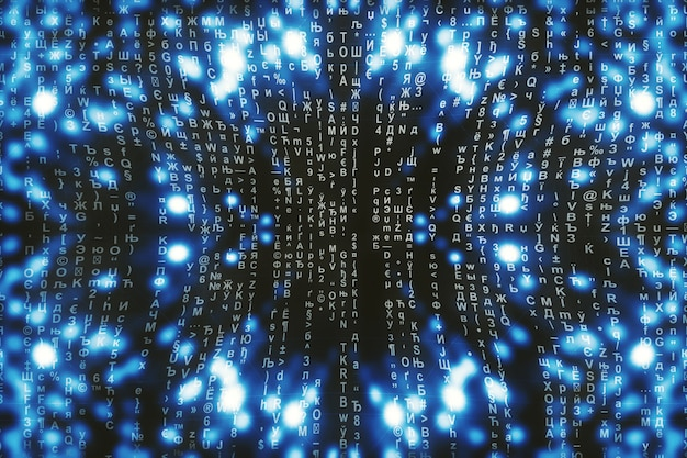 Matriz azul digital. ciberespaço abstrato. caracteres caem. matriz do fluxo de símbolos. design de realidade virtual. hacking complexo de dados de algoritmos. faíscas digitais cianas. Foto Premium