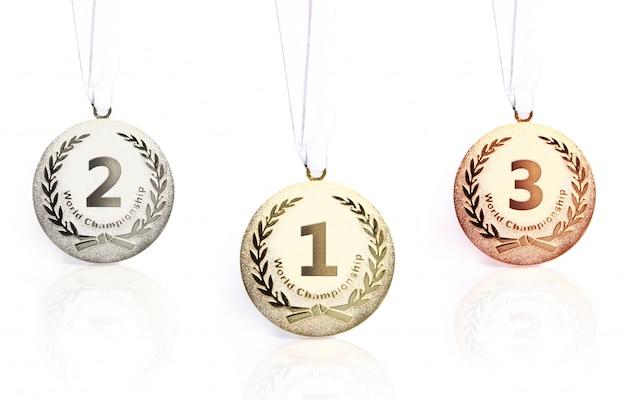 Medalhas de ouro, prata e bronze isoladas Foto gratuita