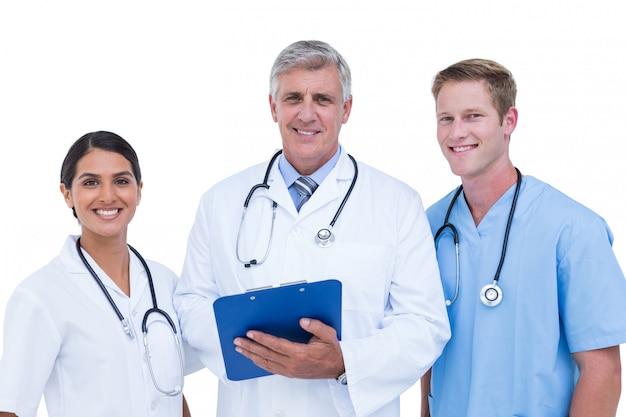 Médicos, e, enfermeira, discutir, sobre, notas Foto Premium