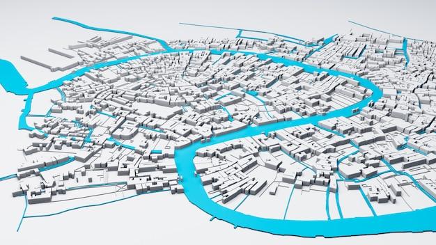 Mega cidade techno, renderização em 3d Foto Premium
