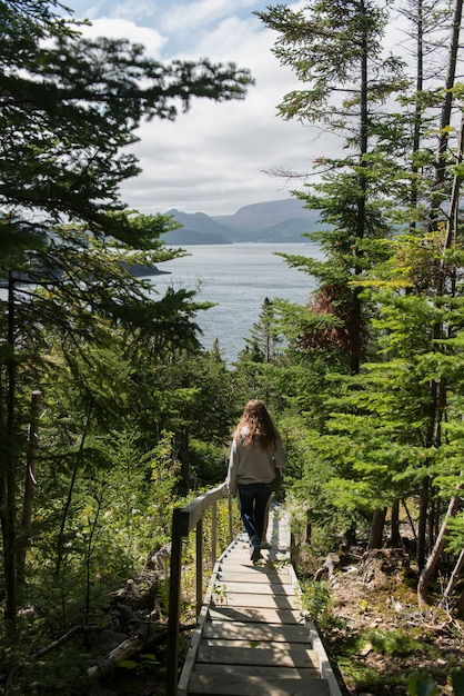 Menina, ao longo, james w. humber, trilha hiking, norris, ponto, parque nacional grosse, morne, newfoundland, e, la Foto Premium