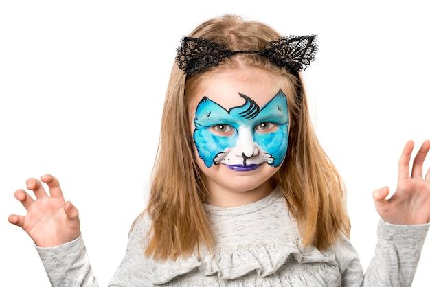 Menina bonita com facepainting Foto Premium