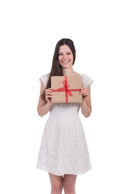 Menina bonita com um presente Foto Premium