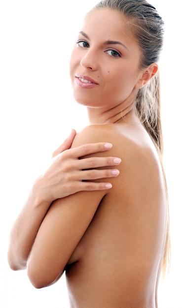 Menina bonita em topless Foto gratuita