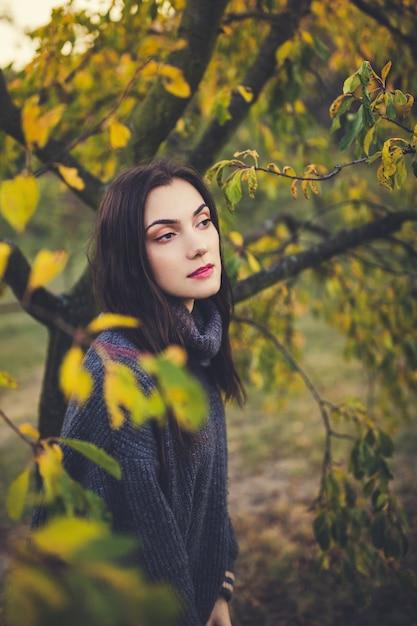 Menina bonita em uma camisola em um parque de outono Foto Premium