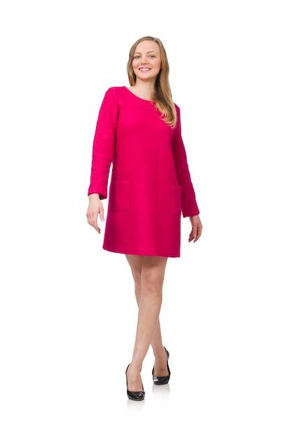 Menina bonita no vestido rosa isolado Foto Premium