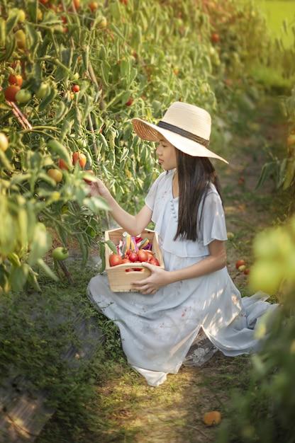 Menina bonitinha asiática com tomates vermelhos Foto Premium