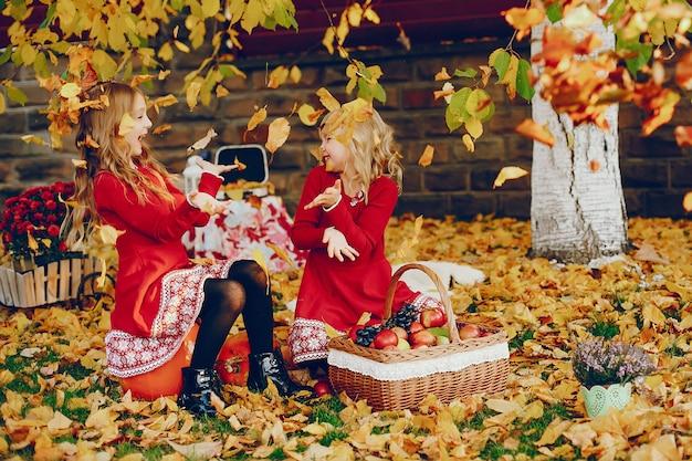 Menina bonitinha em um parque de outono Foto gratuita