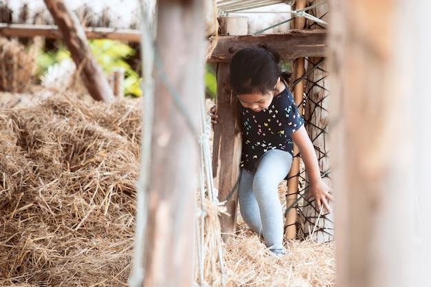 Menina bonito da criança asiática se divertindo para brincar com a pilha de feno na fazenda com a felicidade Foto Premium