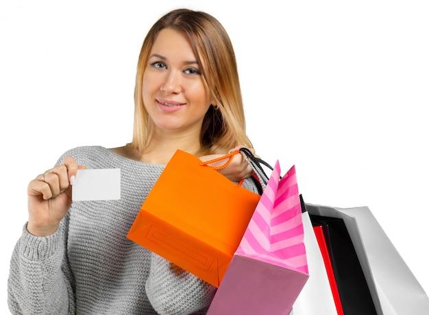 Menina, com, bolsas para compras Foto Premium