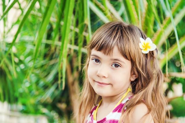 Menina com uma flor do plumeria em seu cabelo contra o contexto das palmeiras. foco seletivo. Foto Premium