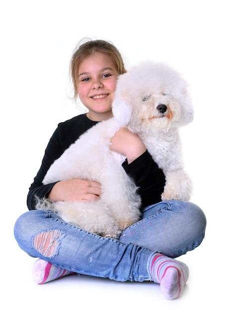 Menina e cão Foto Premium