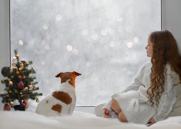 Menina e seu filhote jack russell sentado perto da janela Foto Premium