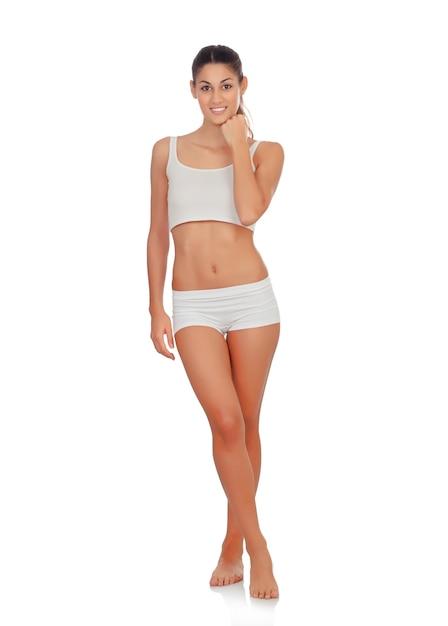 Menina, em, roupa interior branca Foto Premium