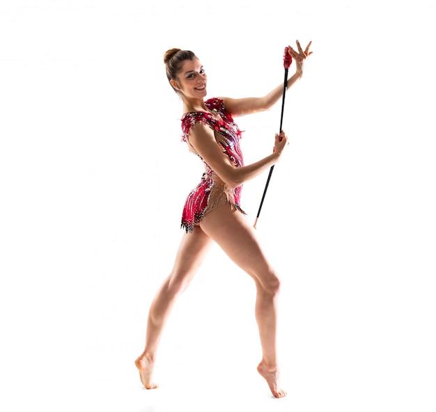 Menina, fazendo, rítmico, ginástica, com, maces Foto Premium