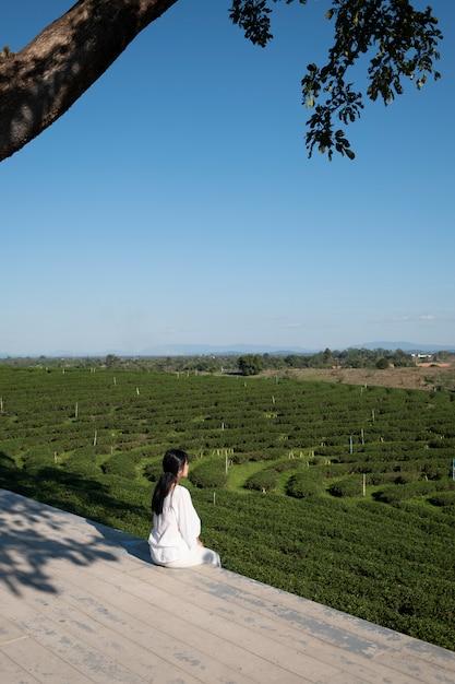 Menina na fazenda de chá Foto gratuita