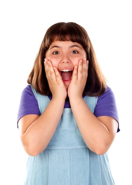 Menina surpresa, abrindo a boca Foto Premium