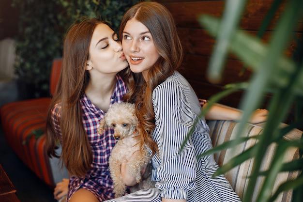 Meninas elegantes e elegantes em um café Foto gratuita