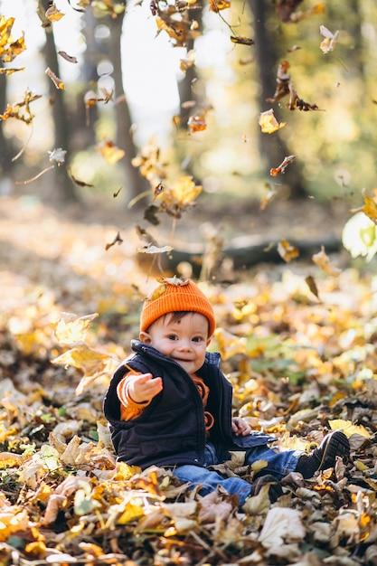 Menino bonito em um parque de outono Foto gratuita