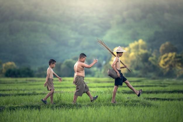 Menino de pesca no campo de arroz Foto Premium