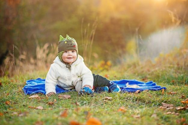 Menino sorridente, sentado em uma manta azul e brincando com brinquedos em um gramado verde ao pôr do sol Foto Premium