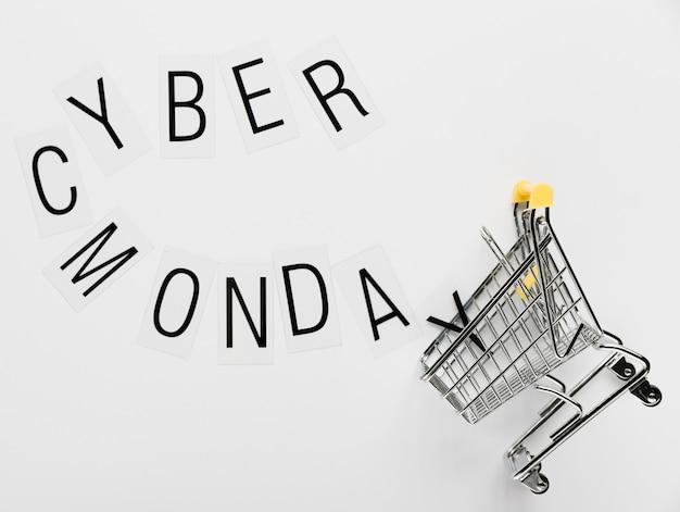 Mensagem de cyber segunda-feira com carrinho Foto gratuita